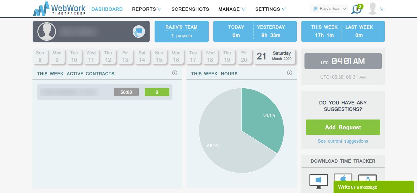 WebWork Tracker remote working tool